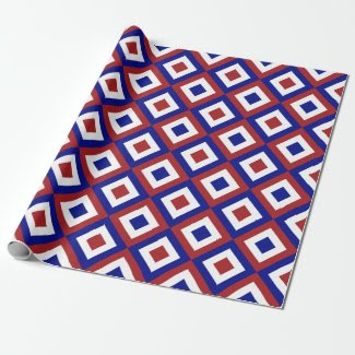 Red, White, and Blue Diamonds Gift Wrap