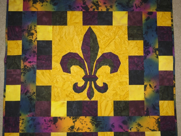 This quilt was paper-pieced for Mardi Gras.