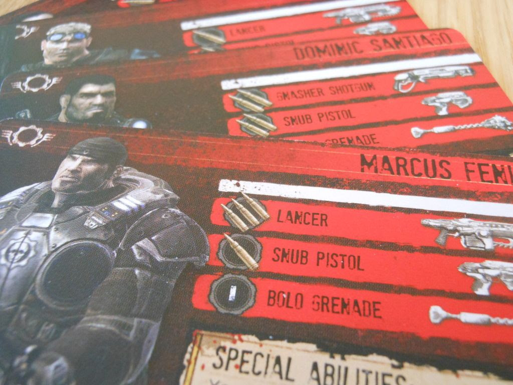 Hero cards from Gears of War, depicting characters such as Marcus Fenix.