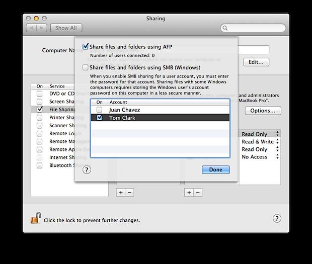 File Sharing options window