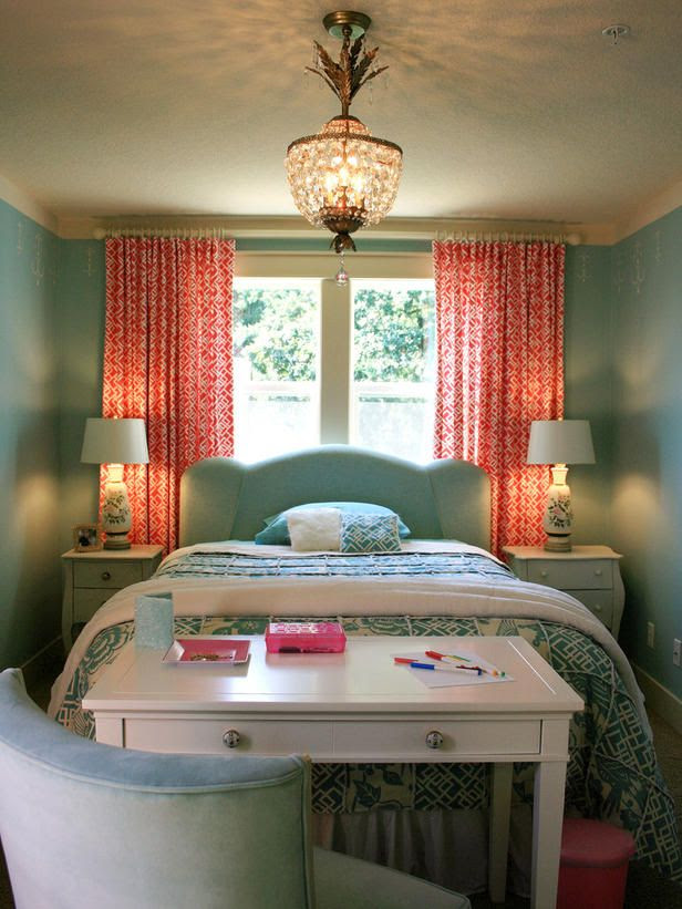 small bedroom coral curtains and mint walls