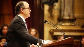 Jordi Turull pronunciant el discurs del debat d'investidura al Parlament, el 22 de març (ACN)