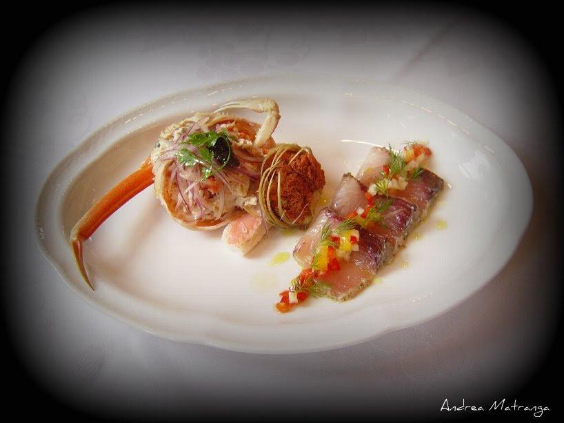 antipasto di pesce marinato e granchio