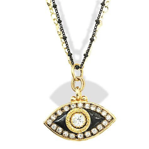 Jewish Jewelry Judaica Black Gold Evil Eye Pendant Necklace