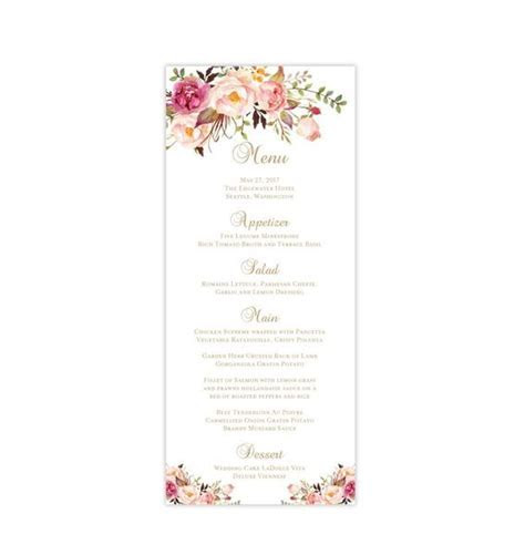 Wedding Menu Card Romantic Blossoms Tea Length Printable