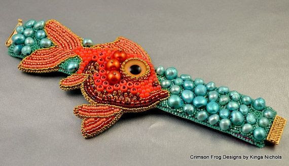 MADE TO ORDER Sammy's Fishie Cuff Bracelet by crimsonfrog on Etsy