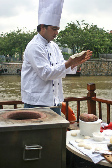 There's a chef on board the boat making naans hot on the spot!