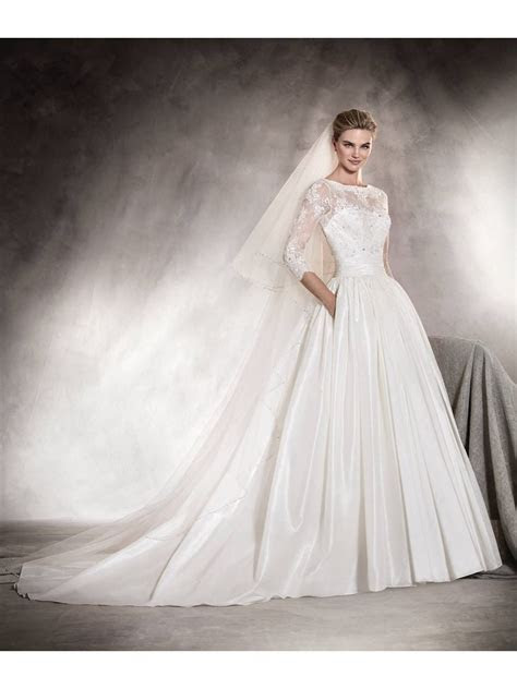 A Line 3/4 Length Sleeves Illusion Neckline Lace Bridal