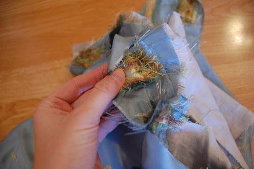 Blue Silk Jacket Sleeve