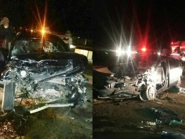 Carros colidiram frontalmente na BR-232, em Arcoverde (Foto: Divulgação/ PRF)
