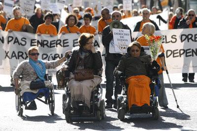 Manifestación de personas dependientes el pasado noviembre en Valencia. Imagen de archivo.
