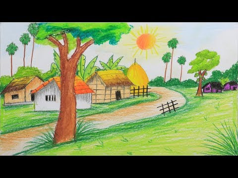 How To Draw A Scenery Of Summer Season Step By Step Very Easy