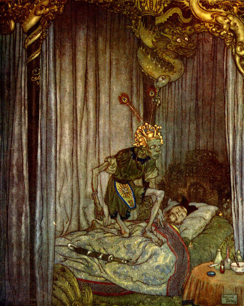 """Edmund Dulac -  """"Even Death himself listened to the song  and said, """"Go on, little nightingale,  go on!"""" from the story """"The Nightingale""""  found in """"Stories from Hans Andersen"""" (1911)"""