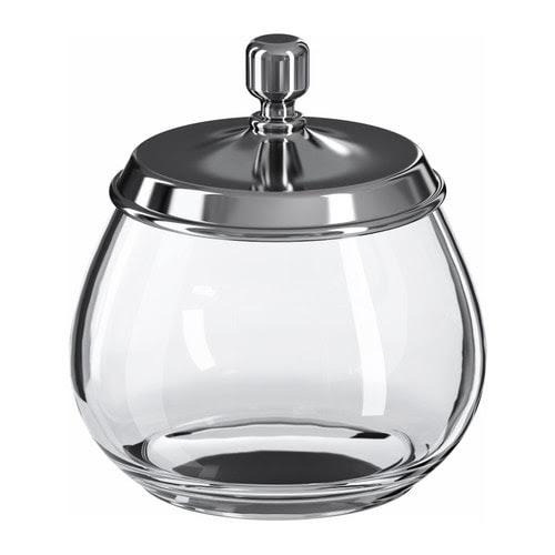 "MOGDEN Jar with lid, glass, stainless steel Diameter: 4 ¼ "" Height: 4 ¾ "" Volume: 7 oz  Diameter: 11.1 cm Height: 12.2 cm Volume: 0.2 l"