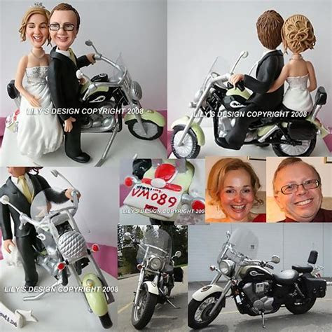 Custom Motorbike Bride and Groom Cake Toppers, Custom