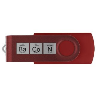 Bacon Periodic Table Geek Humor Swivel USB 2.0 Flash Drive