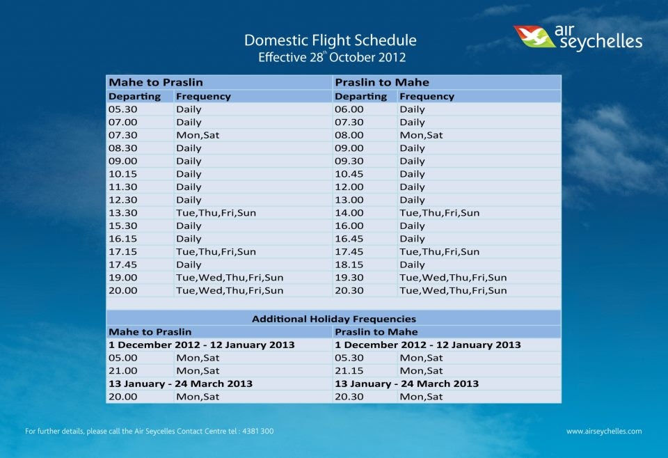 Air Seychelles new domestic schedule