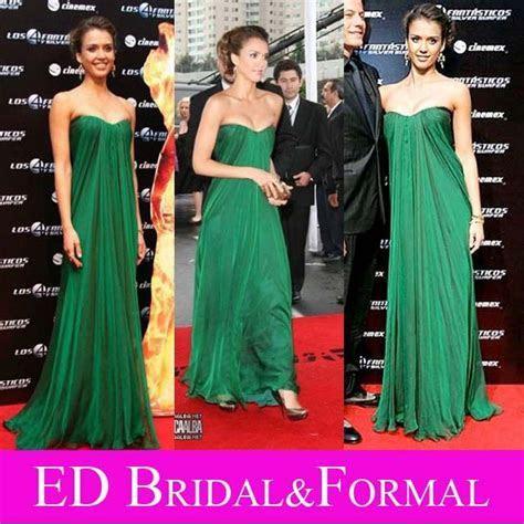 Jessica Alba Forest Green Dress at Fantastic Four Premier