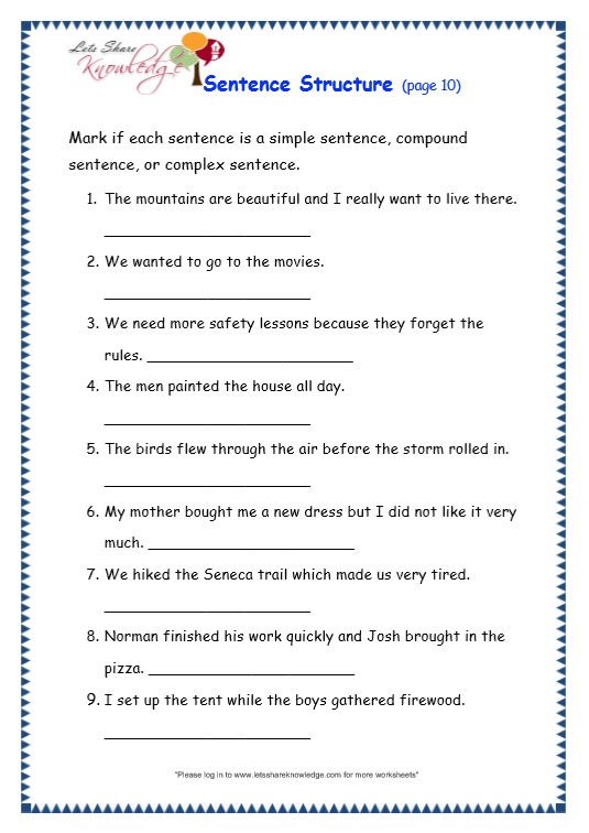 Grade 3 Grammar Topic 36 Sentence Structure Worksheets Lets Share