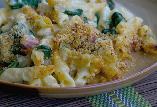Salami, Spinach, and Smoked Gouda Macaroni & Cheese