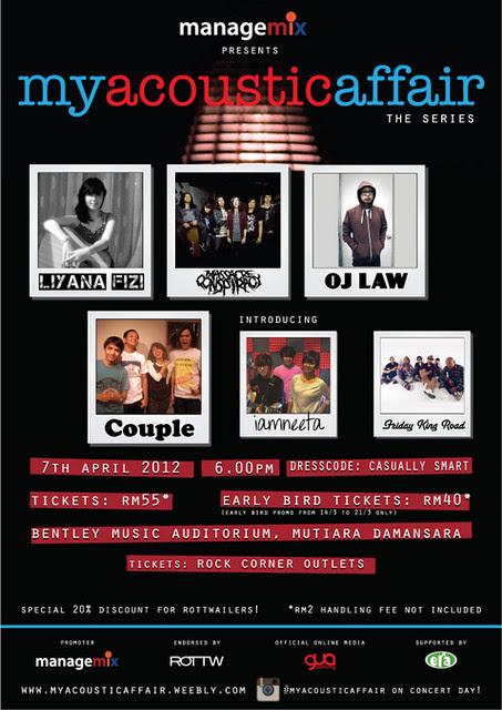 konsert akustik 'My Acoustic Affair', 7 April 2012 di Auditorium Muzik Bentley, Mutiara Damansara