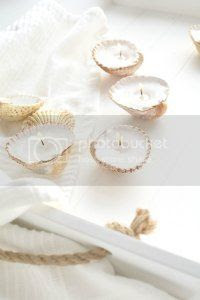 diy shell candles, burkatron, diy, craft, uk, blogger