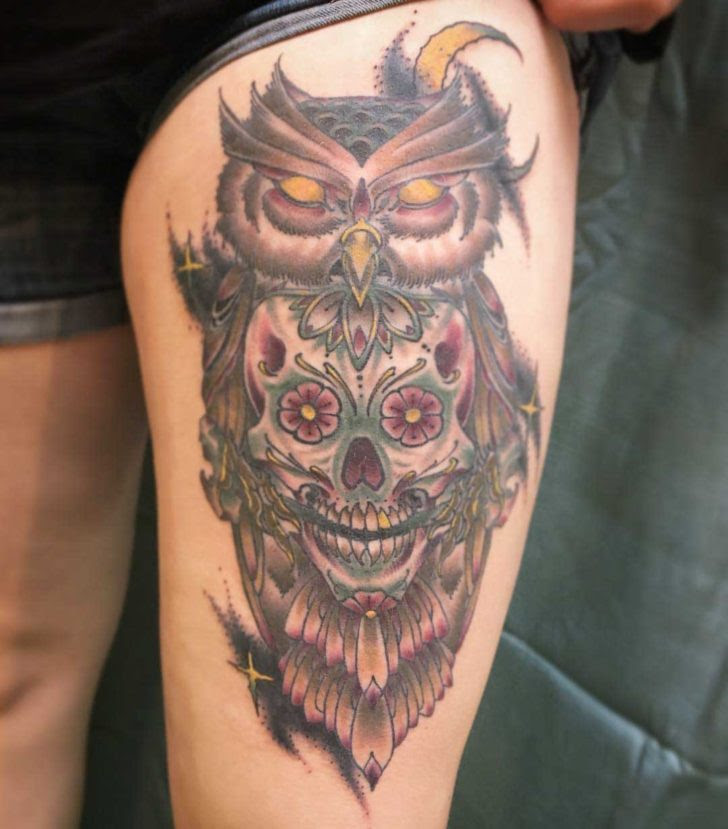 Sugar Skull Owl Tattoo On Thigh Best Tattoo Ideas Gallery
