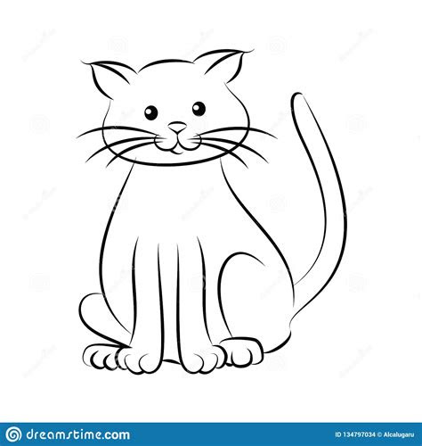 cartoon cute cat coloring page stock vector illustration