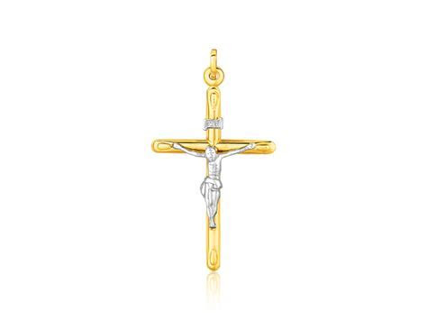 Two Tone Cross Pendant in 14k Gold   Richard Cannon Jewelry