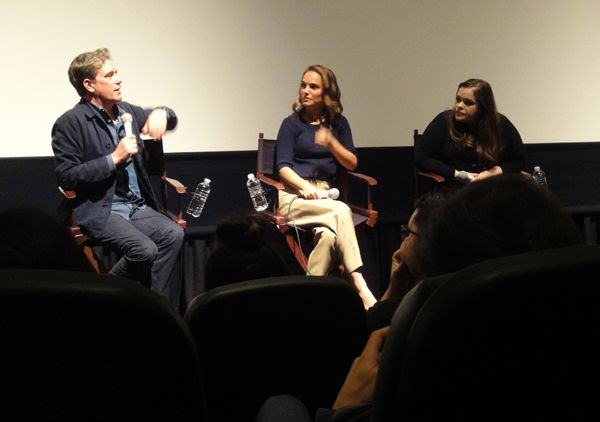 Natalie Portman and director Christopher Quinn take part in a Q&A panel for EATING ANIMALS at Landmark Theatres in west Los Angeles...on June 23, 2018.