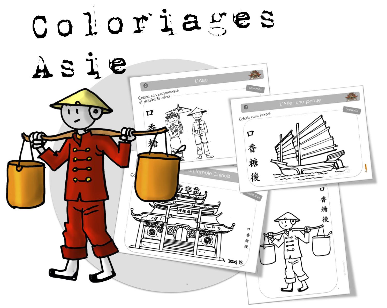 Voici les 7 fiches de Coloriage sur L Asie … illustrées par BDG CM2