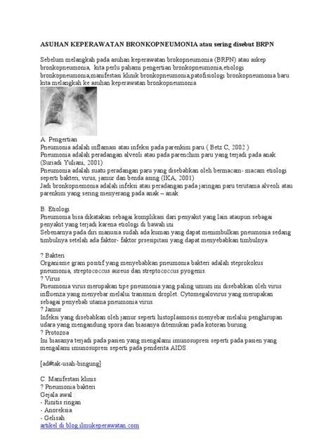 ASUHAN KEPERAWATAN BRONKOPNEUMONIA PADA ANAK PDF