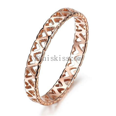 Rose Gold Tone Stainless steel Hollow Heart Ring Love