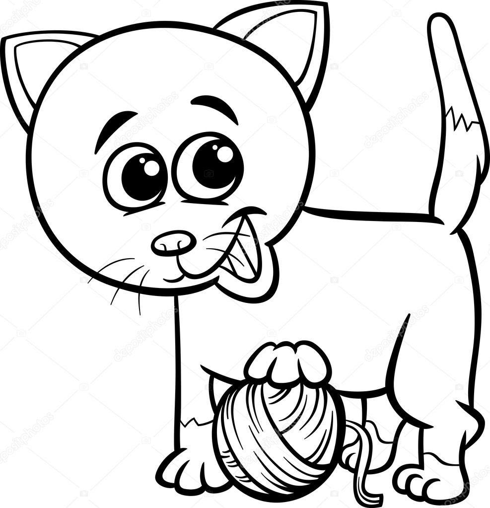 Katt med garn tecknade målarbok — Stock Vektor © izakowski ...