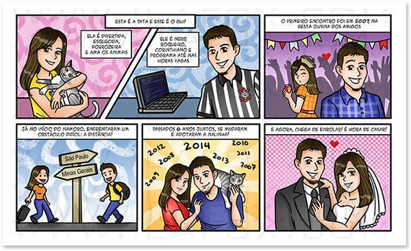 caricatura casal, caricatura bonita, caricatura para casamento, caricatura noivos, caricatura noivinhos, convite original, convite em quadrinhos, convite história noivos, convite diferente