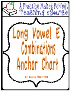 Long Vowel Combination Anchor Charts