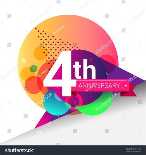 4th Anniversary Logo Colorful Geometric Background Stock