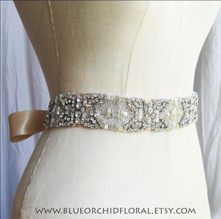 Crystal Bridal Sash Belt Wedding Art Deco inspired From BlueOrchidBridal