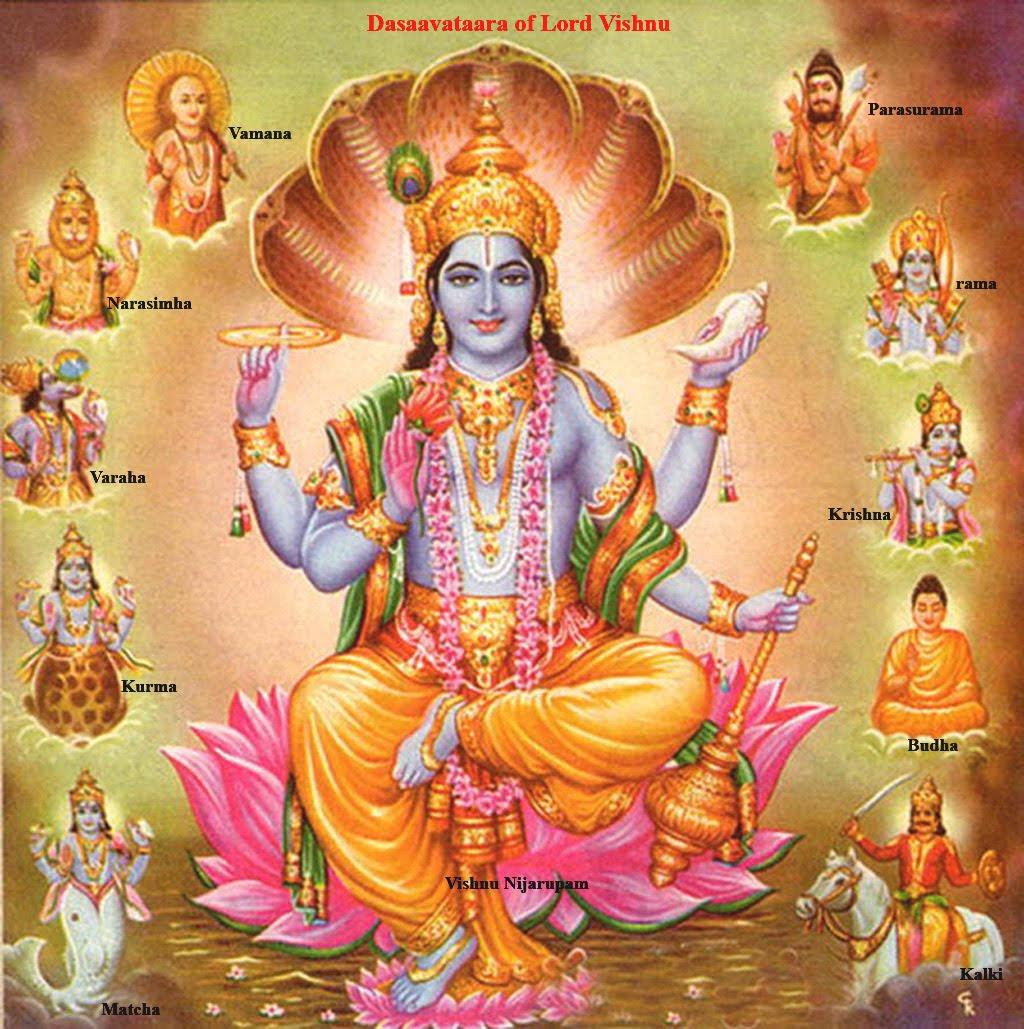 Lord Vishnu And His Ten Avatars Levitating Monkey