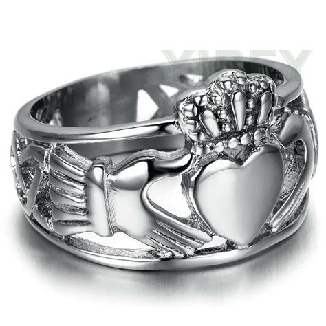 Men's Jewelry Stainless Steel Ring Claddagh Heart Crown