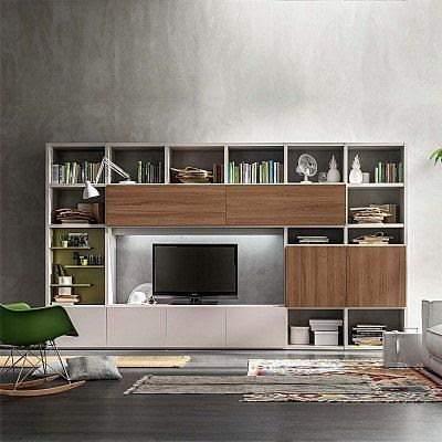 Modern Italian Free Standing Tv Unit With Shelves Or Library Italian Custom Made Livin