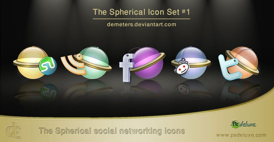 5 Spherical Social Bookmarking Icons
