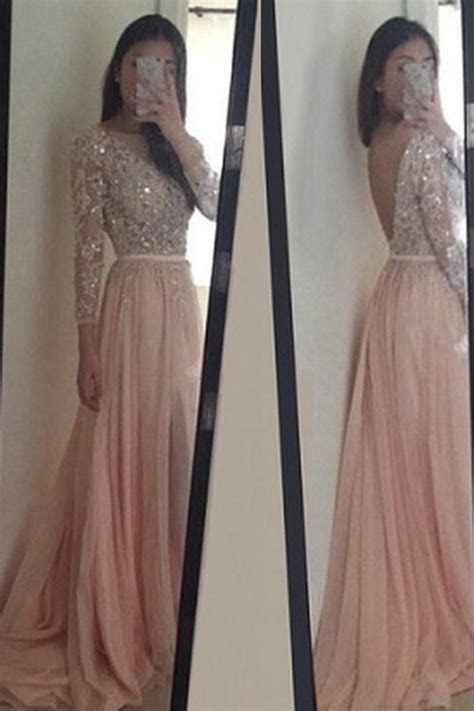 bg sparkly pink prom dresslong sleeve prom dress