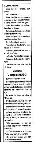 Décès Ferracci Joseph
