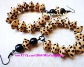 Black and Brown Spotted Cheetah Leopard Animal Print Bi-Cone Wood Beaded Hoop Earrings - GIJIMANI