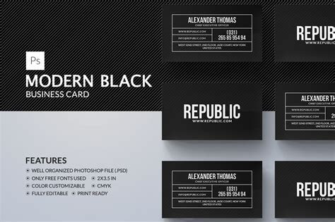 Modern Black Business Card ~ Business Card Templates