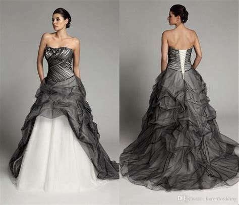 Discount 2015 Fashion Black And White Wedding Dresses Plus