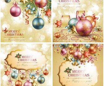 金色と装飾的なクリスマスツリーの飾り ベクター素材