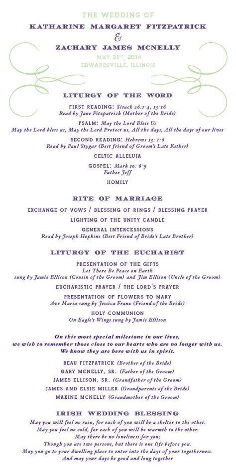 Program Front   Catholic Wedding   Navy and Light Green