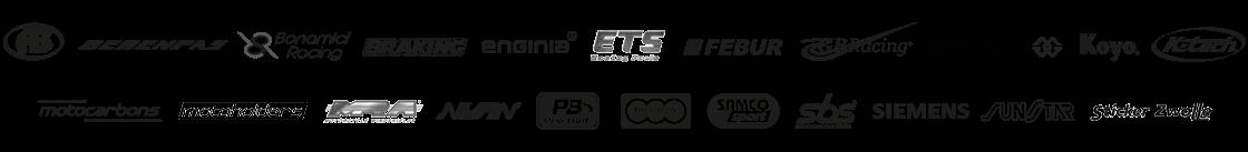 AB, Gilles.tooling, MRC, Motocarbons, Samco sport, motoholders, ketech, enginia, PB, Febur, SBS, Braking, Regina, Bonamici Racing, Berenpas, Koyo, Siemens, ETS, Sunstar, Nissin, Sticker Zwolle